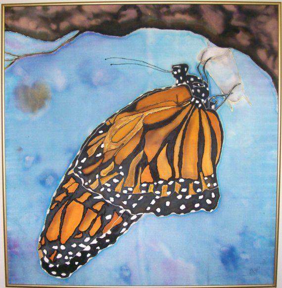 """I have had this one """"heart-ed"""" on Etsy for a long time.  It's such a beautiful Monarch... and what a talented artist.: Paintingsilk Fine, Butterfly Art, Mysticsilks Etsy Com, Artoriginal Paintingsilk, Painting Techniques, Silk Art, Monarch Butterfly In, Silk Painting"""