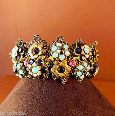 Michal negrin double row flower bracelet with crystal rose clasp amp sa
