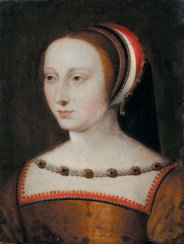 Diane De Poitiers by Jean Clouet (auctioned by Rossini) she often wore black and white after her husband, Louis de Brézé, died in 1531/Diane wears a French hood decorated with gold- and jewel-trim matching the beading around her crescent neckline in this Jean Clouet portrait.Diane De Poitiers by Jean Clouet (auctioned by Rossini) From pinterest.com/ludmi800/portraits/.jpeg