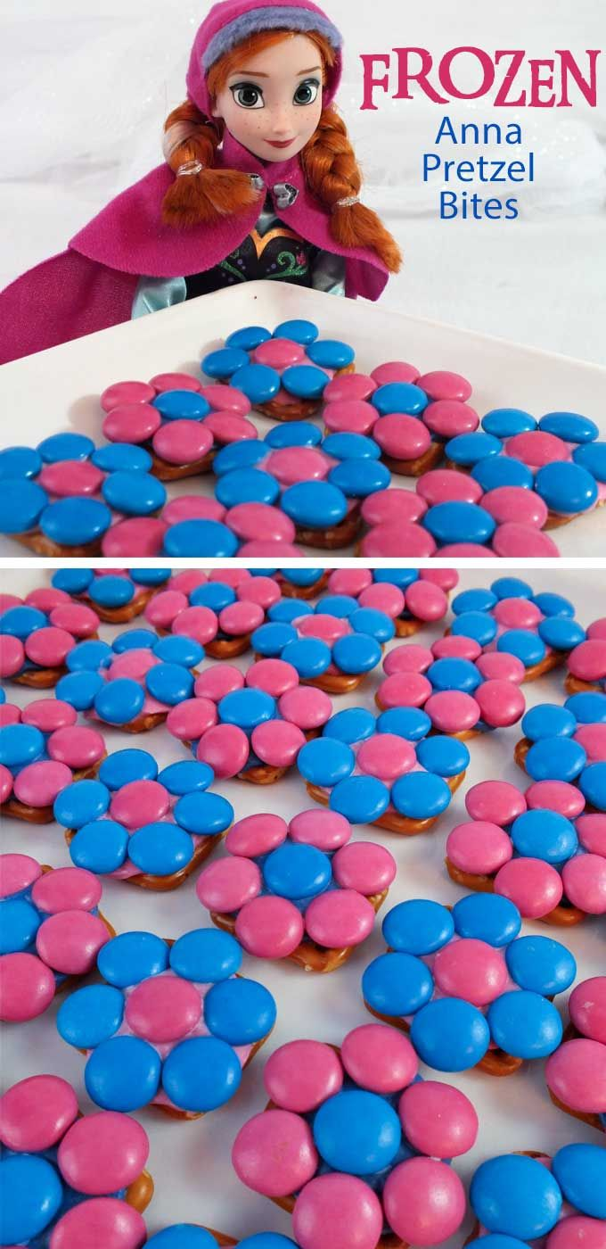 These pretty Anna Pretzel Bites will be a hit at your Frozen Birthday Party - so easy to make and delicious too. They are yummy bites of Frozen themed sweet and salty goodness all dressed up in pink and blue just like Princess Anna. Follow us for more fun Frozen Party Ideas.