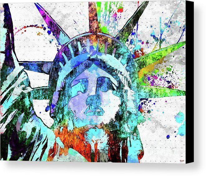 Statue Of Liberty Grunge Canvas Print featuring the mixed media Statue Of Liberty Grunge by Daniel Janda