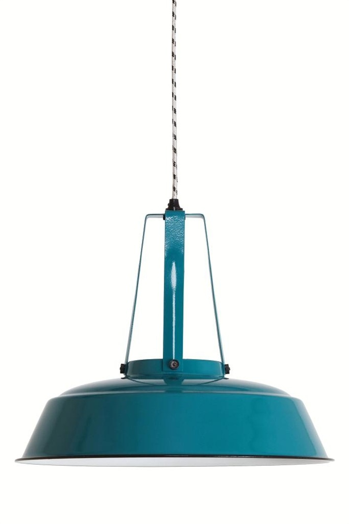 The perfect lights for a studio.  Industrial lamp with striped fabric cord from HK Livingston