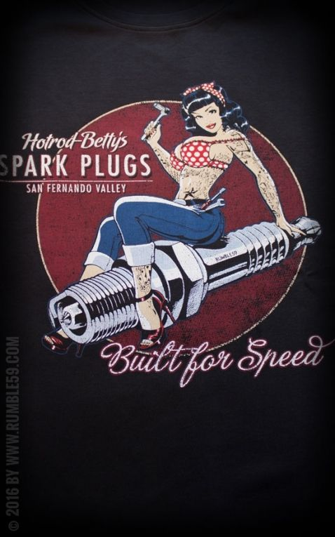 72a7d8a2fbde56 Rumble59 - Hotrod Betty's Spark Plugs - T-Shirt | Old School Tattoo