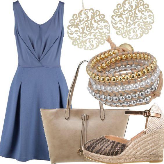 Vestito blu notte scarpe zeppe