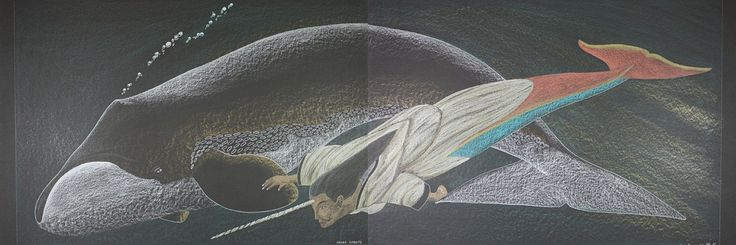 Tim Pitsiulak - Edna's Giants 19.625 x 51.125 Coloured pencil diptych on paper (2012)