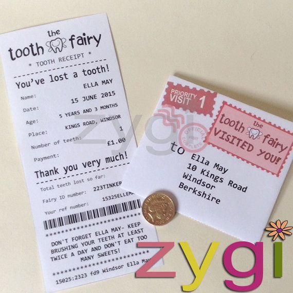 Tooth Fairy Kit Certificate Receipt and Envelope Fairy by zygi