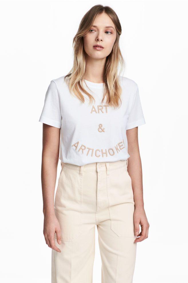 T-shirt brodé - Blanc/Art&Artichokes - FEMME | H&M FR 1