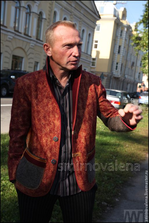 Купить Пиджак мужской СОЛНЦЕПОДОБНЫЙ - бордовый, оранжевый, цветной, мужской пиджак, пиджак валяный, для мужчин