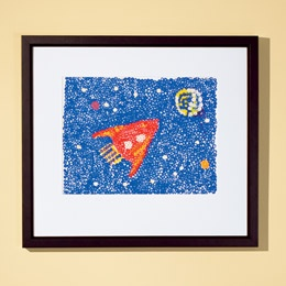 pointillism paintings (like Seurat) with a pencil eraser; or use q-tips for messier dabs and streaks (like Van Gogh); draw the design in pencil first