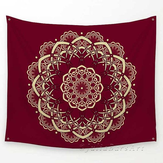 Burgundy Tapestry, Mandala Tapestry, Red Tapestry, Wall Tapestry Hanging, Bohemian Decor, Boho Tapestry, Sofa Throw, Red Bedspread by DesignbyJuliaBars