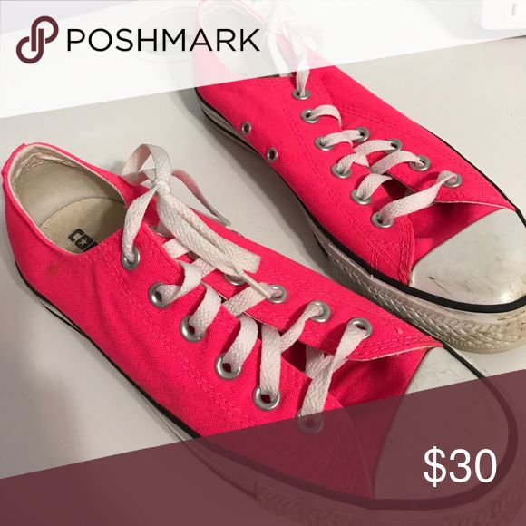 Hot pink limited edition converse Used but still in good shape hot pink neon converse women's 9 Converse Shoes Sneakers