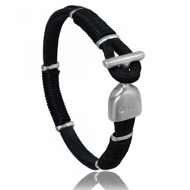 Bracelet homme cuir noir Denver - Oclaf