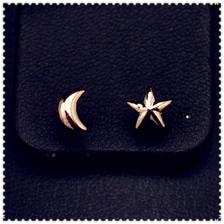 New Fashion jewelry rose gold plated Asymmetry star moon stud gift  for women girl E2079