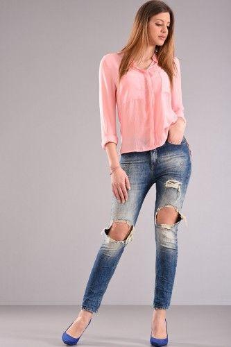 Πουκάμισο με μακρύ μανίκι μαο γιακά ίσια γραμμή με τσέπες στο στήθος σε άσπρο χρώμα από σατέν ύφασμα με επεξεργασία ζαρώματος.    Μεγέθη : Large / XLarge  Χρώμα : Ροζ