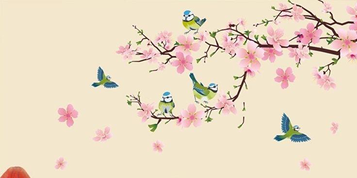 Prachtige muursticker roze bloesem tak met vogels