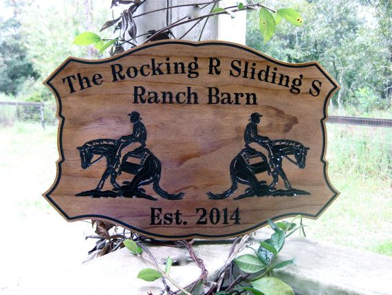 Personalized Reining Horse Ranch Barn Sign Custom Wood Carved Reining Horse Cowboy Western Ranch Horse Tack Room NRHA Barn Stable Plaque