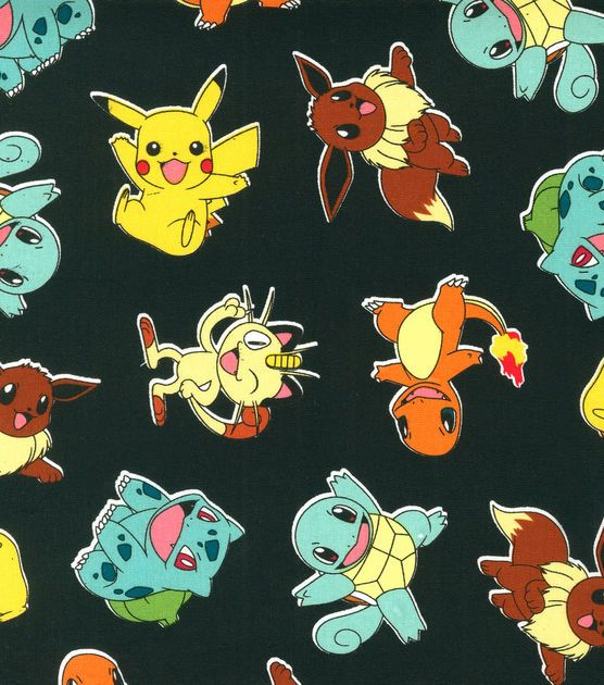 Pokemon Character On Black Cotton Fabric