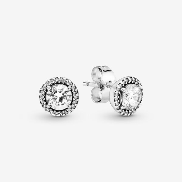 Circular Sparkling Diamante Sterling Silver Stud Earrings