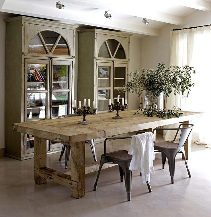 Rustic wood dining table with Tolix chairs, & everything else about this  room!