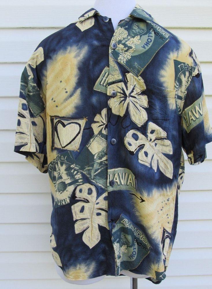 Jams World Size S Vintage Mens Short Sleeve Shirt Hawaiian Blues & Beige  #JamsWorld #ButtonFront