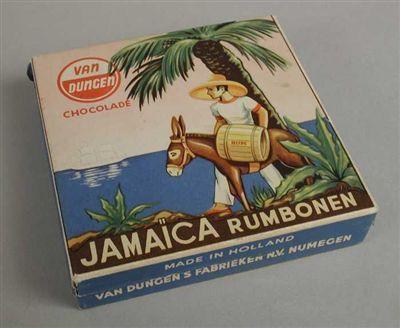 """Doos """"Jamaica rumbonen"""" van """"Van Dungen"""" kreeg ik altijd van mijn opa."""