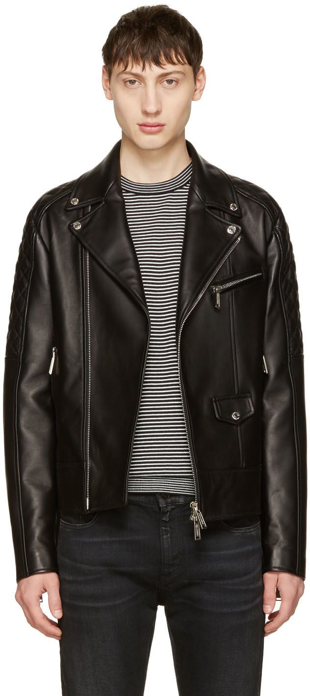 DSQUARED2 Black Classic Leather Jacket. #dsquared2 #cloth #jacket