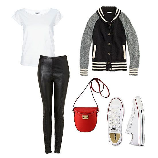 This fall, the previously preppy letterman jacket is ready to go downtown- we love this outfit idea!