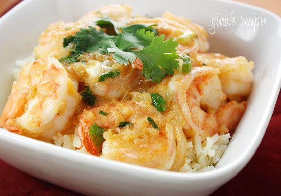 Thai Coconut Curry Shrimp Recipe Main Dishes with oil, scallions, Thai red curry paste, garlic, shrimp, light coconut milk, fish sauce, fresh cilantro, salt