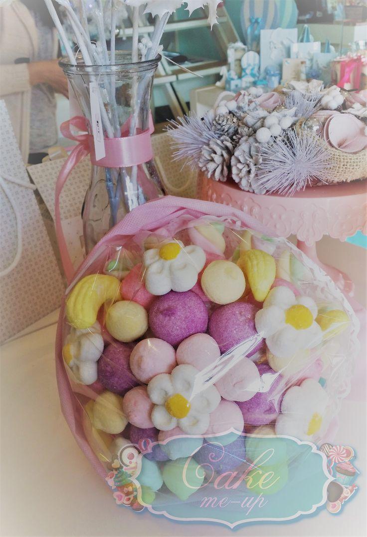 Bouquet di caramelle, lilla, margherite