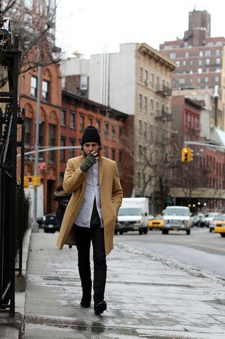 Men's Camel Overcoat, White Long Sleeve Shirt, Charcoal Crew-neck T-shirt, Black Jeans