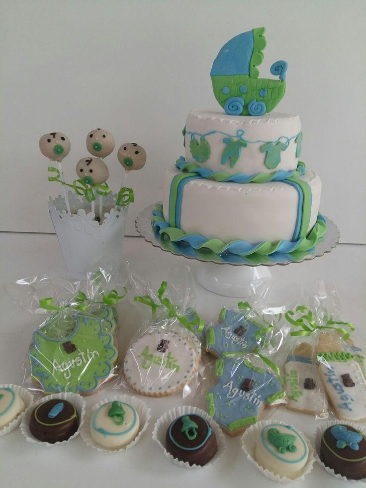 Baby shower  cake, cookies, popcakes  & alfajores