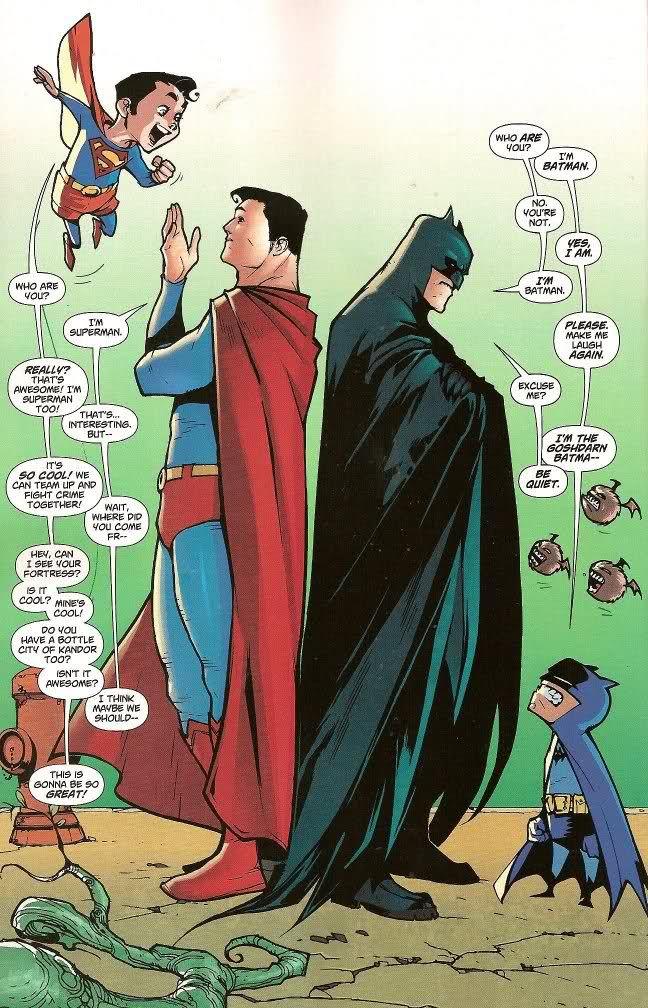 When Batman and Superman meet their former selves- Funnies!