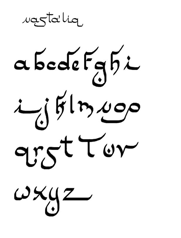 pseudo-Arabic alphabet Nastaliq for embroidery, calligraphy, tiraz (write this from right to left and no one will guess it's in English). By Master Rashid / Charles Mellor.