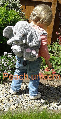 Ellie the Elephant Backpack Crochet Pattern for a Beginner by Peach. Unicorn