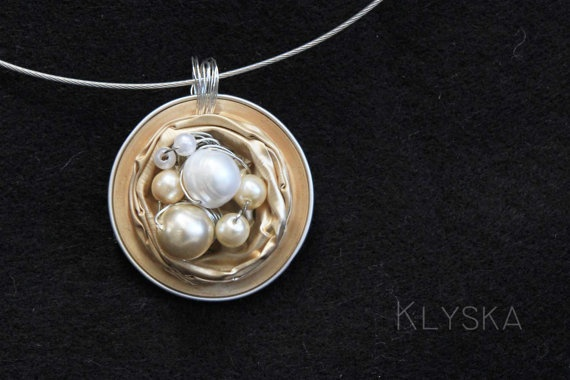 Wire Wrapped Pearls Necklace