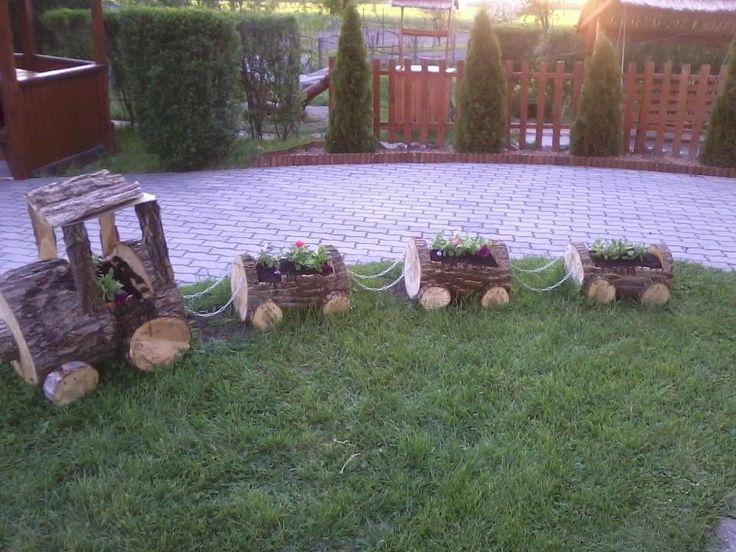 Tree Log Train Planter Yard Decor Gardening Pinterest