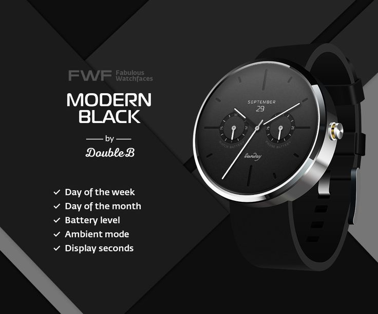 ModernBlack watch face by DoubleB / #fwf #fabulouswatchfaces #androidwear #moto360 #huaweiwatch #tagheuer #huaweiwatch #smartwatch #watchface
