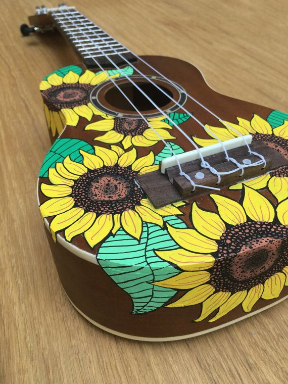 Hand-Painted Ukulele Natural Sunflowers by CedarAndSycamore