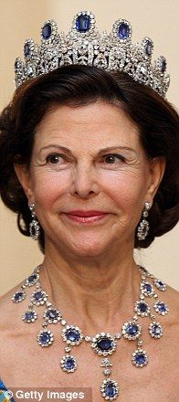 Queen Silvia of Sweden, Royal Jewels: The Leuchtenberg Sapphire Parure (tiara, necklace, earrings, brooch and four hairpins).