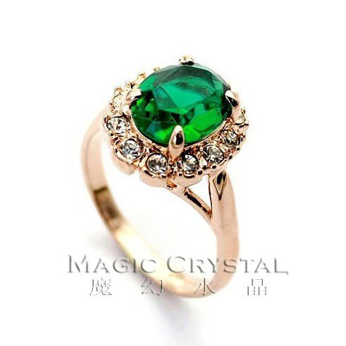 New Arrivel 18K Gold Plated Fashion Green Crystal Ring Italina Rigant Fashion…