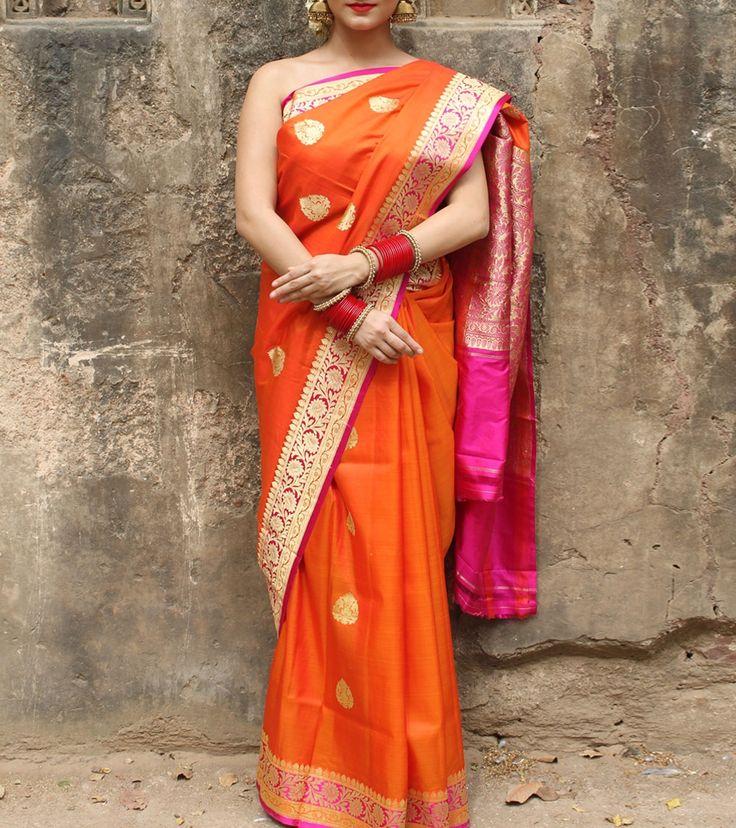 Orange Silk Hand Woven & Zari Work Saree With Blouse Piece #chanderisilk #sarees #silk #woven