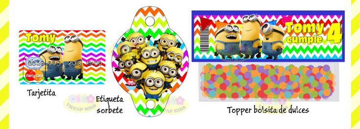 (8) Kit Imprimible Minions Mi Villano Favorito Candy Bar Invitac - $ 44,90 en MercadoLibre
