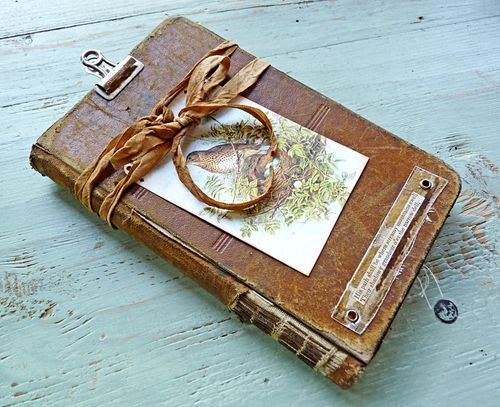 Nina Bagley.... check out more pics of the inside on her blogArt Journals, Book Wraps, Clipboards Journals, Altered Journals, Book Wrapped Lik, Altered Art, Define Brooks, Bagley Work, Altered Book