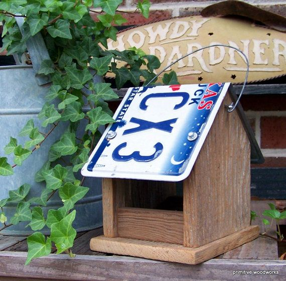 Wooden Bird Feeder, License Plate Bird Feeder, Rustic Reclaimed Natural Weathered Wood and Texas License Plate   shopswell