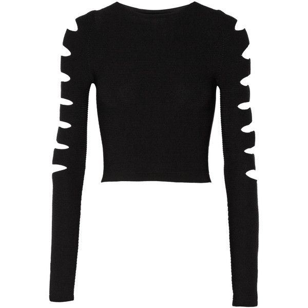 Cushnie et Ochs Cropped cutout ribbed stretch-knit top ($570) ❤ liked on Polyvore featuring tops, sweaters, black, cut out sweater, cropped sweater, cutout crop top, cut out crop top and cut-out tops