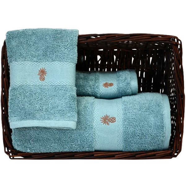 Tommy Bahama 3 Piece Towel Set Color: Bay Blue ($20) ❤ liked on Polyvore featuring home, bed & bath, bath, bath towels, embroidered bath towels, blue bath towels, tropical bath towels, colored bath towels and 3 piece towel set