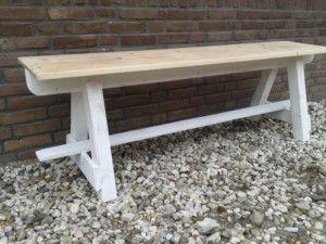 mooie bank voor in de tuin of aan de eettafel. lang 160 cm, breed 27 cm, hoog 50 cm. 55eur