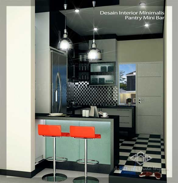 Desain Interior Minimalis Pantry Mini Bar
