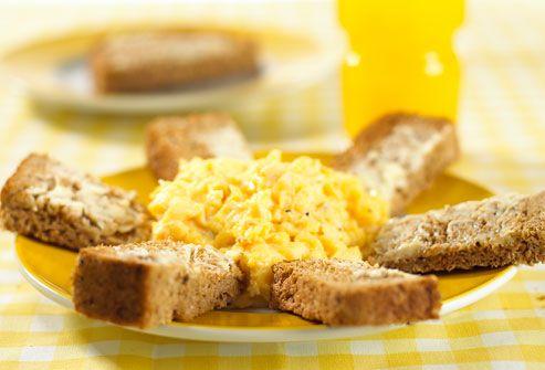 scrambled eggs, whole grain bread