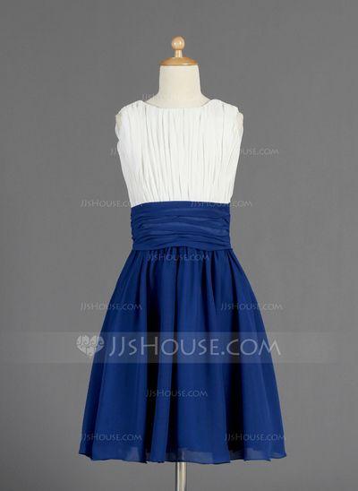 Junior Bridesmaid Dresses - $105.69 - A-Line/Princess Scoop Neck Knee-Length Chiffon Junior Bridesmaid Dress With Ruffle (009014656) http://jjshouse.com/A-Line-Princess-Scoop-Neck-Knee-Length-Chiffon-Junior-Bridesmaid-Dress-With-Ruffle-009014656-g14656